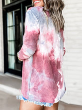 Load image into Gallery viewer, Women V Neck Dip-Dye Print Long Sleeve Casual T-Shirts