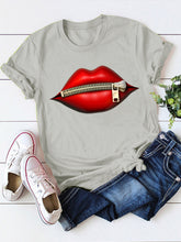 Load image into Gallery viewer, Woman Lips Printed Short Sleeve Crew neck T-shirts