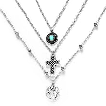 Load image into Gallery viewer, Women Fashionable Simple Alloy Turquoise Three-Layer Combination Necklaces