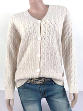 Load image into Gallery viewer, Women Solid V Neck Knitted Cutout Long Sleeve Sweaters