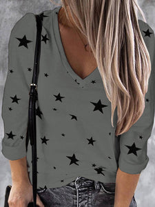 Women Star Print V Neck Cotton Long Sleeve T-Shirts