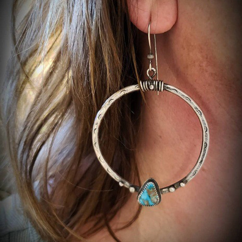Women Vintage Silver Turquoise Large Circle Earrings