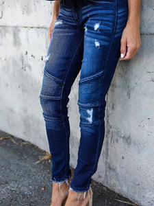 Women Ruched Ripped Vintage Denim Pants