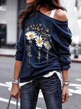 Load image into Gallery viewer, Women Daisy Print Long Sleeve Polyester Off Shoulder T-Shirts