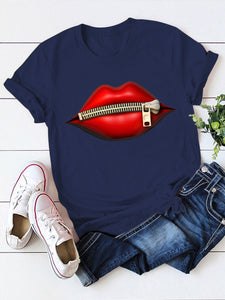 Woman Lips Printed Short Sleeve Crew neck T-shirts