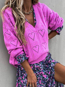 Women V-neck Heart-Shaped Cutout Loose Knit Sweaters