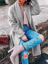 Load image into Gallery viewer, Women Fashion Shawl Collar Solid Long Sleeve Woolen Coats
