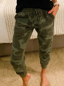 Women Camouflage Print High Waist Cropped Pants