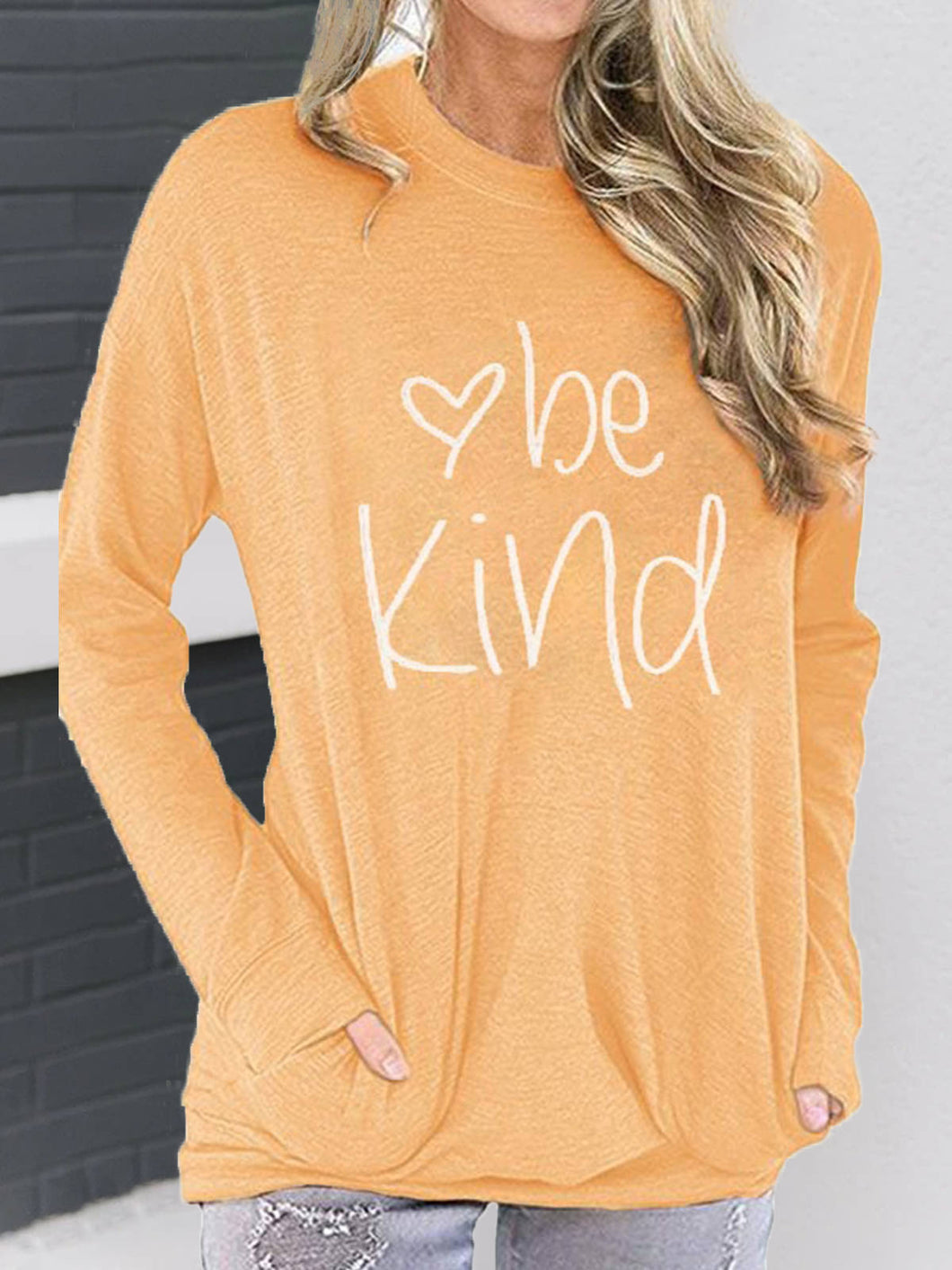 Women Long Sleeve BE KIND Letter Print Cotton Crew Neck Bat Sleeves T-Shirts