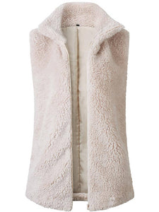 Stand Collar Open Front Cardigan Solid Plush  Zipper Womens Sleeveless Vests