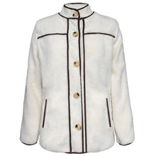 Load image into Gallery viewer, Women Casual Terry Fleece Fashion Stand Collar Stitching Button Jacket