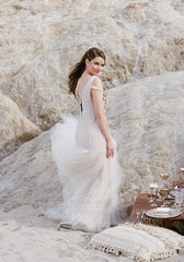Bibhu Mohapatra 'Ellie' Blush Tulle Mermaid Wedding Dress - Bibhu Mohapatru - Nearly Newlywed Bridal Boutique - 4