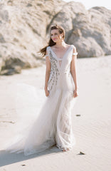 Bibhu Mohapatra 'Ellie' Blush Tulle Mermaid Wedding Dress - Bibhu Mohapatru - Nearly Newlywed Bridal Boutique - 2