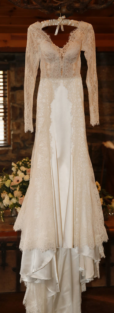 Pnina Tornai '4325' size 6 used wedding dress front view on hanger
