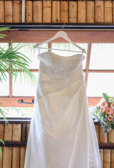 Alfred Angelo '1136' size 8 used wedding dress front view on hanger