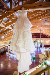 Hayley Paige 'Guindon' size 2 used wedding dress front view on hanger
