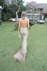 Custom 'Scout' size 4 used wedding dress back view on bride