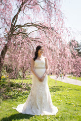 Jenny Yoo 'Morgan' size 6 used wedding dress front view on bride
