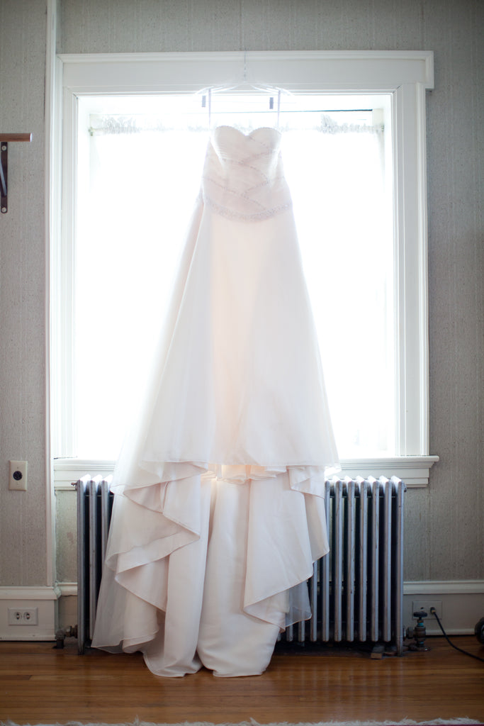Moda Bella '3Y708' size 12 used wedding dress front view on hanger