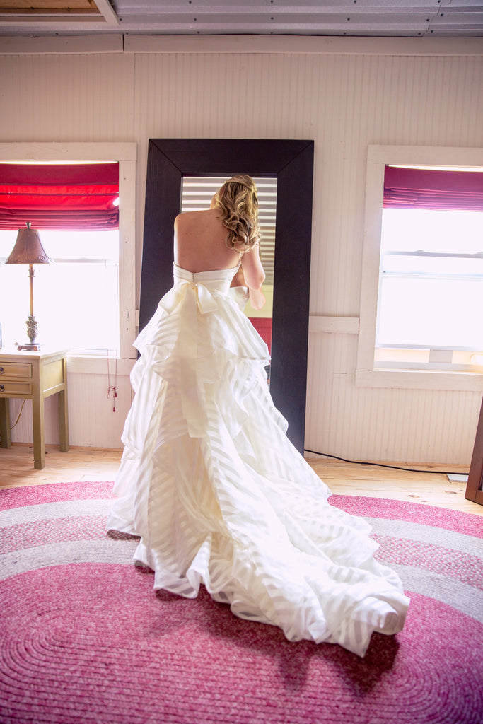 Hayley Paige 'Guindon' size 2 used wedding dress back view on bride