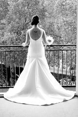 Priscilla of Boston Jewel Structured Trumpet Gown - Priscilla of Boston - Nearly Newlywed Bridal Boutique - 3