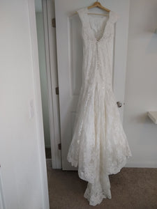 Allure Bridals '9000' size 8 used wedding dress back view on hanger