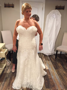 Matthew Christopher 'Adeline' size 16 used wedding dress front view on bride