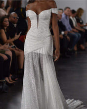 Load image into Gallery viewer, Pnina Tornai 'Glitter Draped' size 8 used wedding dress front view on model