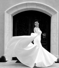 Priscilla of Boston Jewel Structured Trumpet Gown - Priscilla of Boston - Nearly Newlywed Bridal Boutique - 4