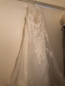 Simply Bridal 'Off the Shoulder' size 16 new wedding dress view on hanger