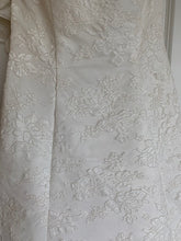 Load image into Gallery viewer, Alfred Angelo 'Elegant White' size 4 used wedding dress close up of fabric