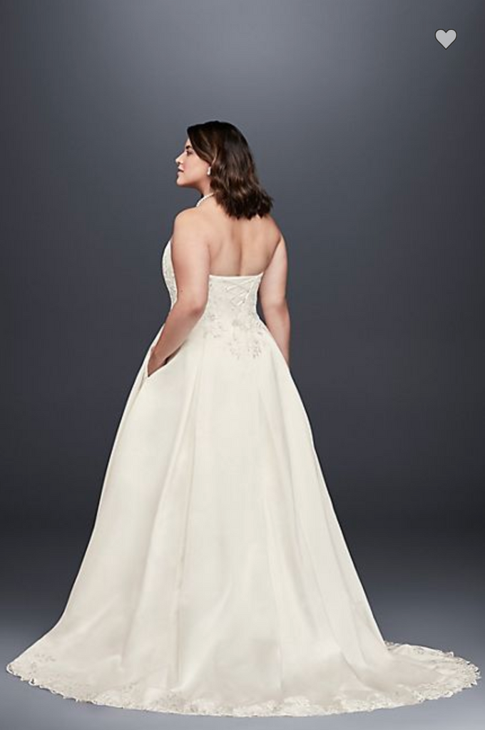 David's Bridal 'Embroidered Satin' size 18 used wedding dress back view on bride