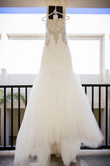 Allure Bridals '9258' size 12 used wedding dress front view on hanger