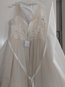 Galina 'Tulle Tank V-Neck' size 10 new wedding dress back view on hanger