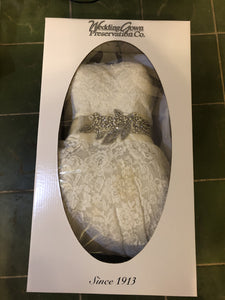 Justin Alexandr 'Corded Lace Ball Gown' size 10 used wedding dress view in box