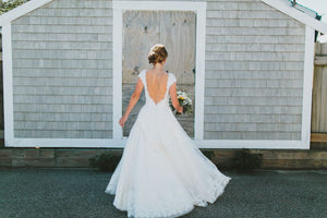 Robert Bullock 'Amaris' size 4 used wedding dress back view on bride