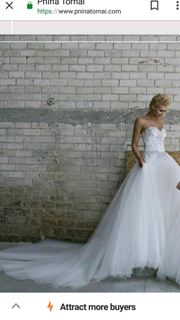 Pnina Tornai 'Love Collection 14681' size 4 new wedding dress front view on model