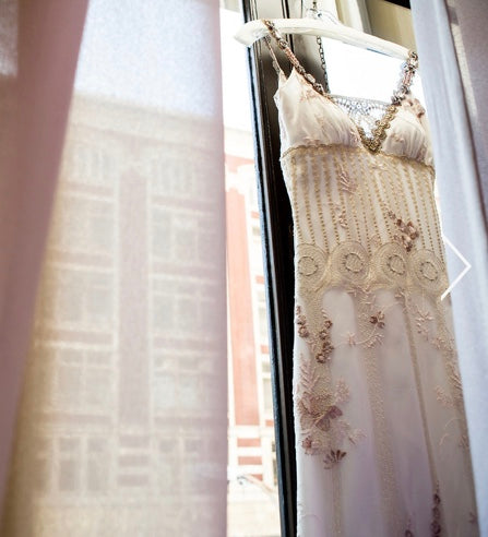 Claire Pettibone 'Midnight' size 4 used wedding dress front view on hanger