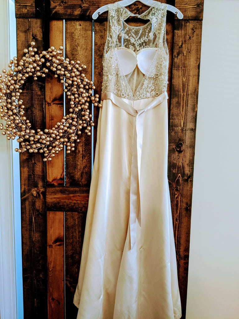 Tara Keely '2455' size 8 used wedding dress back view on hanger