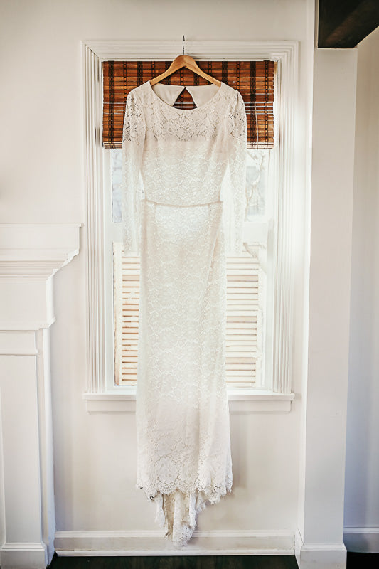 Houghton 'Chante' size 8 new wedding dress front view on hanger