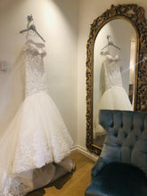 Load image into Gallery viewer, Eve of Milady 'Amalia Carrara' size 12 used wedding dress side view on hanger