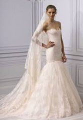 Monique Lhuillier 'Dream' size 2 used wedding dress front view on model