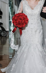 Mori Lee 'Karisma' size 8 used wedding dress front view on bride