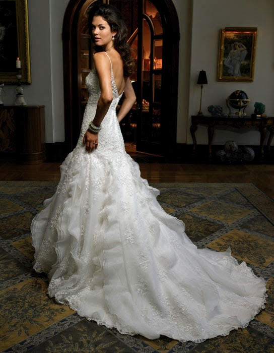 Casablanca '1856' size 6 used wedding dress back view on model