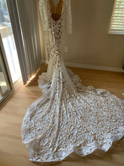Michael Costello 'Custom' size 4 used wedding dress back view on hanger