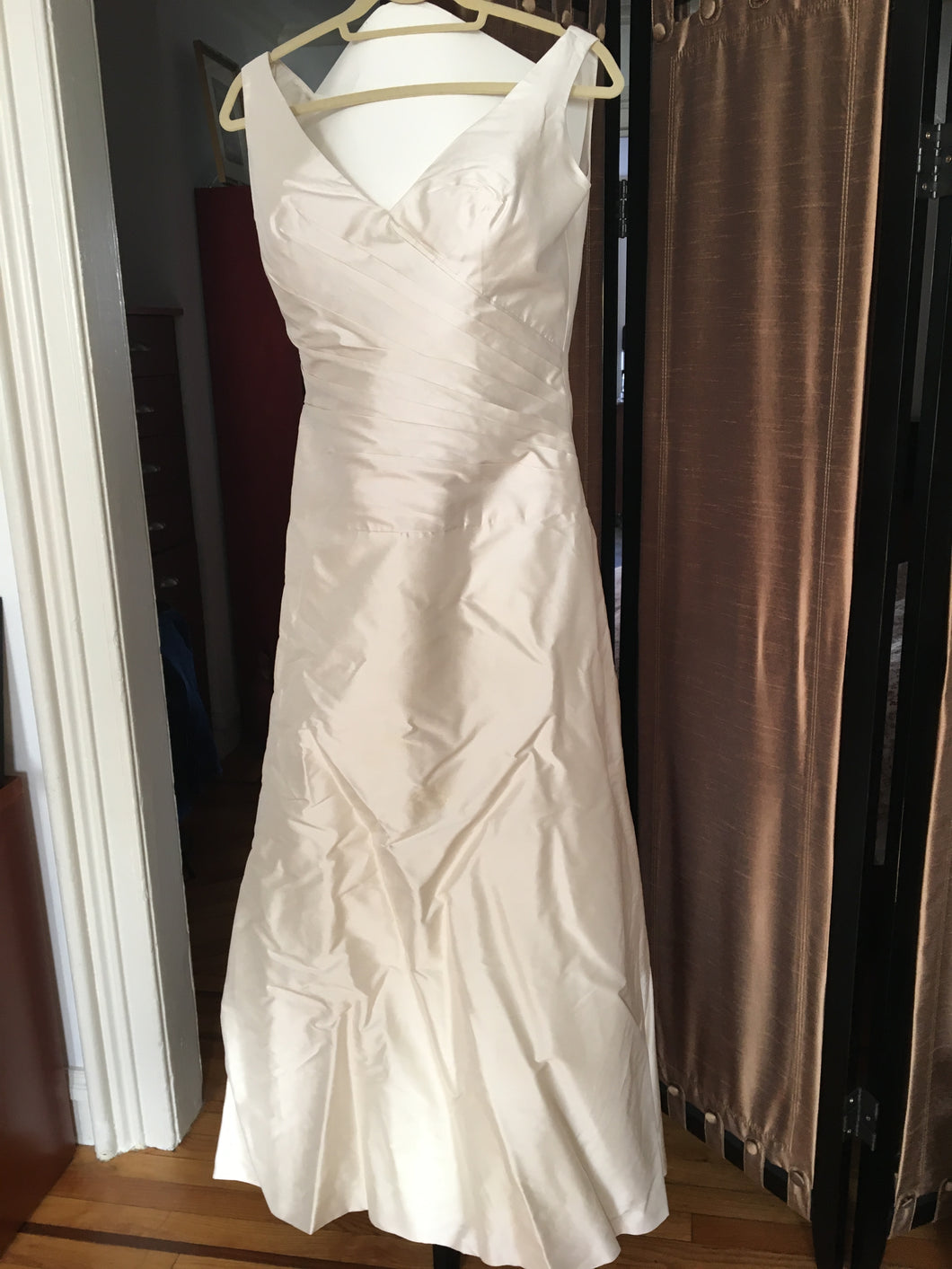 Paloma Blanca 'Dupioni' size 10 used wedding dress front view on hanger