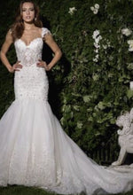 Load image into Gallery viewer, Eve of Milady 'Amalia Carrara' size 12 used wedding dress front view on model