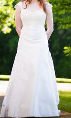 Birnbaum and Bullock 'Gretchen' size 6 used wedding dress front view on bride