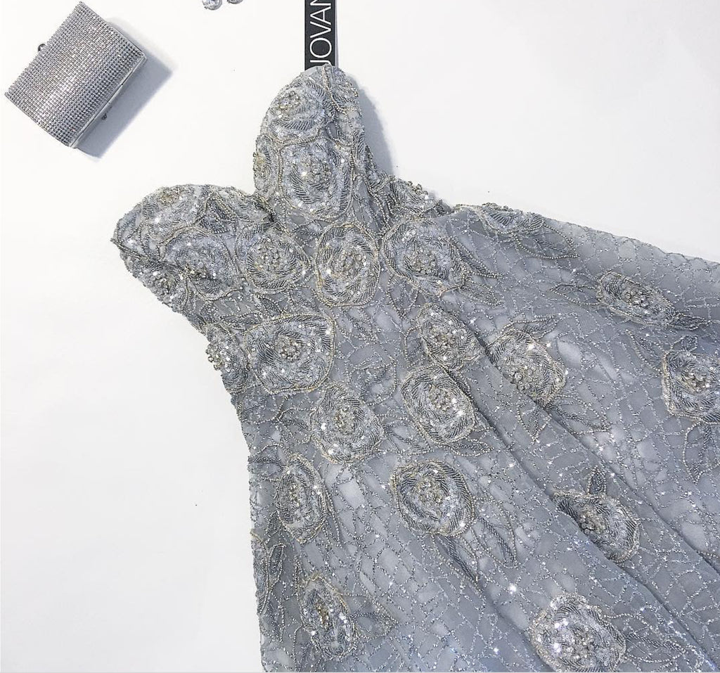 Jovani 'Silver Ball Gown' size 12 new wedding dress front view flat