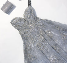 Load image into Gallery viewer, Jovani 'Silver Ball Gown' size 12 new wedding dress front view flat